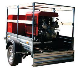 Мотопомпа пожарная МП-20/100 «Гейзер» на легковом прицепе МЗСА, комплектация П